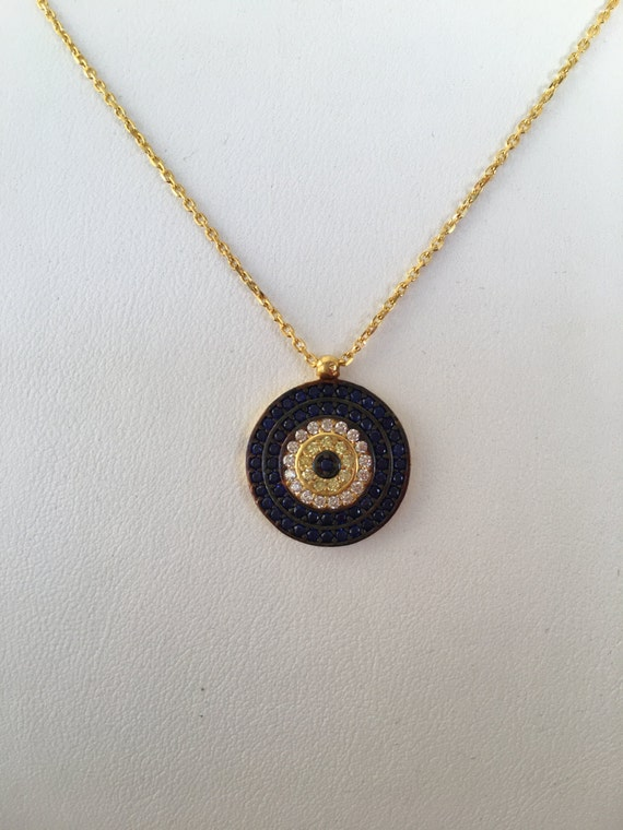 evil eye necklace Real Gold Plated Sterling Silver and Cubic Zirconia, Safe to get wet, SALE