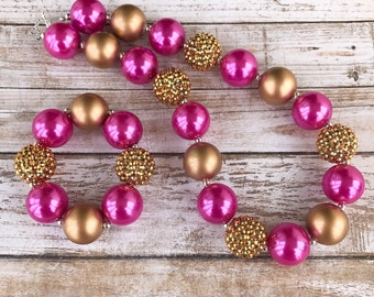 Princess Bubblegum Necklace, Pink and Gold Bubblegum Necklace, Girl Toddler Pink Chunky Necklace, Princess Birthday Necklace, Baby Gift