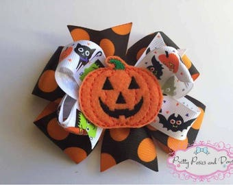 Halloween Hair Bow, Pumpkin Hair Bow, Orange and Black Hair Bow, Jack-o-latern Hair Bow