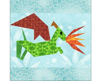 Flying Fire Dragon Quilt Block Paper Pieced Pattern