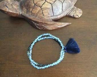 Set of two blue hawaii iridescent Multicolor Boho crystal bead bracelets stretch bracelet Handmade elastic bracelet strand bracelet tassel
