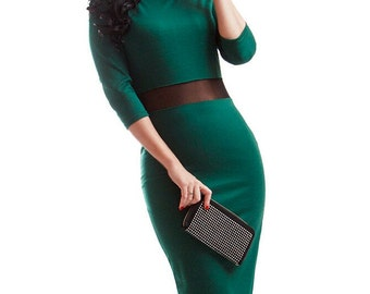 Simple emerald dress Combined Elegant dress Evening Occasion Midi dress Casual clothing for women