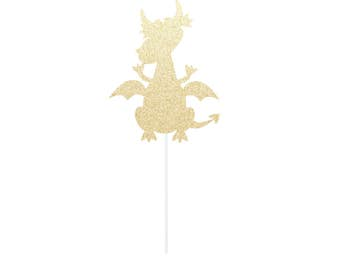 Dragon Cake Topper Gold Glitter or Any Color / Boy's Birthday Supplies / Party Decor
