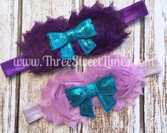 Baby Girl Headband | Purple Rosette | Sequin Teal Bow | Baby Shower Gift | Shabby Chic Photography Prop | Boutique Bow