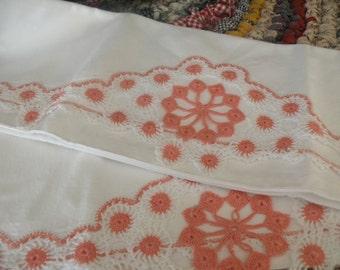 Victorian Peach Rosette Antique Pillowcases