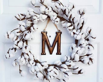 Farmhouse Cotton Wreath - Rustic Wreath - Cotton Boll Wreath - Front Door Wreath - Wreath for Door - Mothers Day Gift -  Gifts for Her