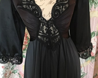 Lovely Noir Black Olga nightgown with large sweep