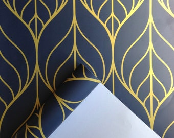 Removable Wallpaper, Leaf wallpaper, wallpaper, Peel and stick wallpaper, Self adhesive wallpaper, Repositionable wallpaper, blue wallpaper