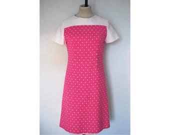 60s Dress, Pink Polka Dot, Size 10, 1960s, Pretty.