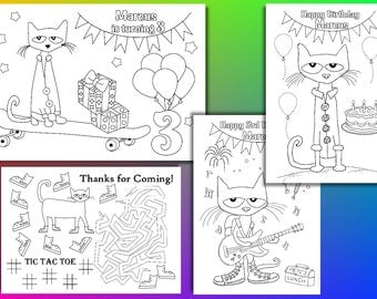 pete the cat coloring pages pete the cat birthday party favor pdf file