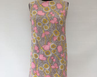 Vintage 1960's - FRITZI of CALIFORNIA' Floral Sleeveless Shift Dress - Approx UK Size 10/12.