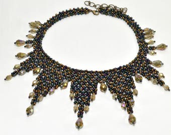 """Teardrop crystals and seed bead woven points create a stunning necklace named """"Star Struck"""" - PDF beading pattern"""