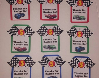 Hot Wheels Gift Bag Tags.Hot Wheels Party Decorations. Race car tags.