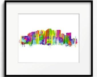 Malaga Skyline Watercolor Art Print (389) Cityscape Spain