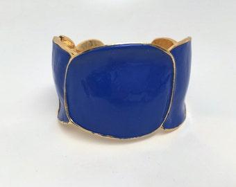 Kenneth Jay Lane KJL Blue Enamel Hinged Cuff Bracelet