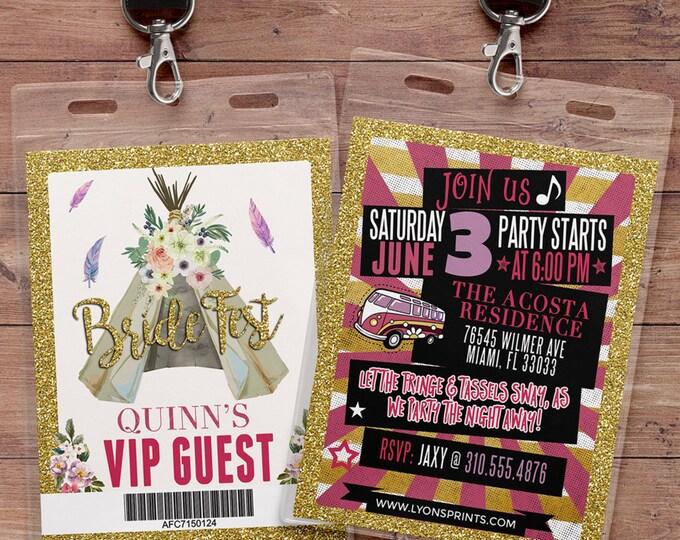 VIP pass, Teepee Birthday Invitation, ticket invitation, pow wow, BOHO, Tribal, first birthday, 1st birthday, Gold glitter, music festival