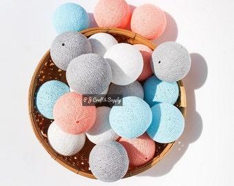 35 Cotton Ball String Lights for Bedroom, Baby room, Kid room, Wedding, Patio, Party, Fairy, Decor, Handmade