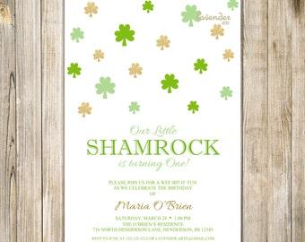 ST PATRICK'S DAY Birthday Invitation, Little Shamrock First Birthday Invite, Irish Saint Patty Baby Girl Boy 1st Birthday, Digital Printable