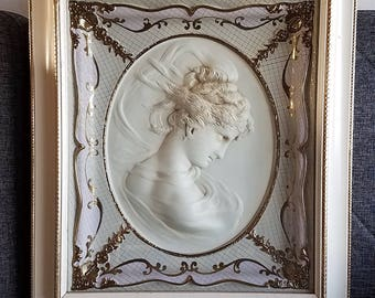19x22 Turner Wall Accessory Cameo Lady 3D wall Art Picture Framed in Glass