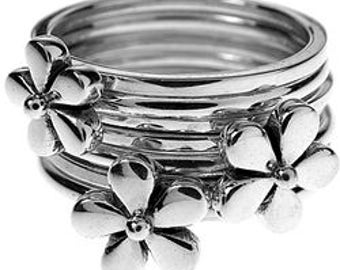 Sterling Silver Seven Band Daisy Flower Stacking Ring
