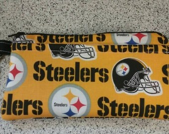 Handmade Pittsburgh Steelers  Print Wallet Wristlet Phone Case with strap