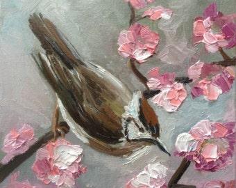 miniature painting christmas gift spring flowers birds oil painting original art gift