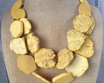 Yellow turquoise necklace double strands stone bib statement necklace&bracelet