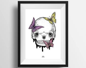 PRINT A4 . Skull and butterfly . Dead . Life . Art