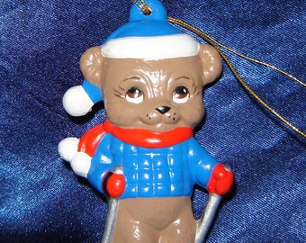 Teddy Bear Skiing Ornament - Bear Ornaments - Christmas Ornaments - Ceramic Ornaments - Teddy Bear Ornaments