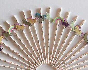 Unicorn straws, unicorn decor, decorative straws, paper straws, party decor