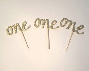 One cupcake toppers 12 count 2 inches glitter pick your color