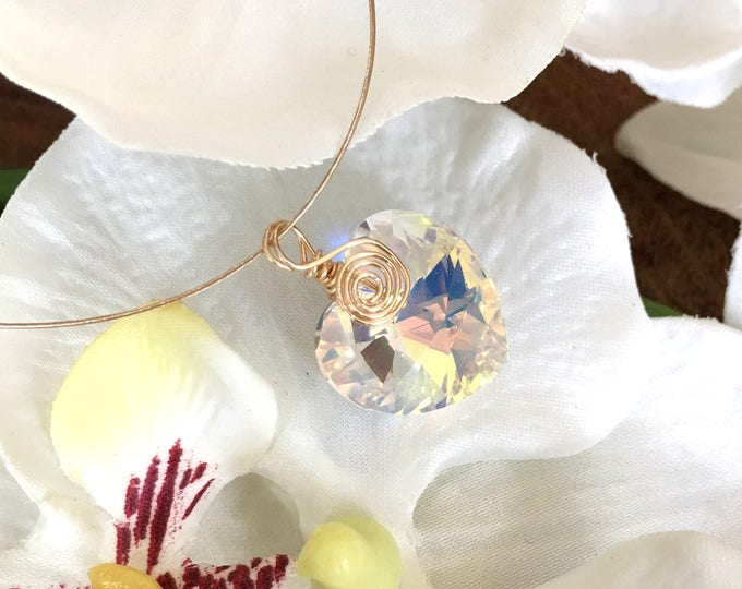 Featured listing image: Dainty Gold Plated Wire Wrapped Swarovski Crystal Heart Pendant Necklace