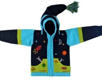 Baby Sweater,Handmade Rocket Sweater,Blue,Turquoise,Baby Sweater,Girl Sweater,Boy Sweater,Wool Hoodie Cardigan,Toddler hoodie,Cute aliens