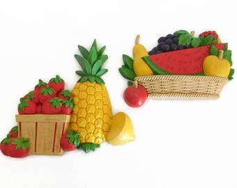 Two (2) Vintage Home Interior Homco Fruit Wall Plaques - Vintage Kitchen Decor, Wall Decor, Vintage Homco Decor