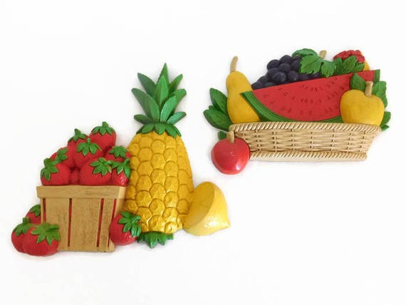 Two 2 Vintage Home Interior Homco Fruit Wall Plaques