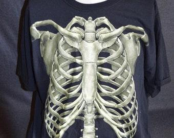 Vintage Skeleton Bones Graphic T-Shirt (Size: XL)