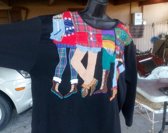 Adorable Vintage Pull Over Black Knit Shirt...Legs and Shoes Design..Must See!!!
