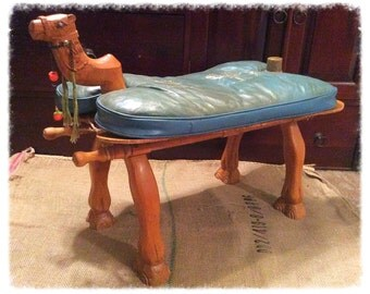 camel saddle vintage decorative stool hand carved camel head and camel toes - Saddle Stools