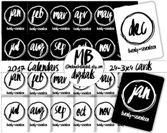 CALENDAR CARDS, 2017, monthly, brush script, Calendars, 24 Journal Cards, Digital Card Pack