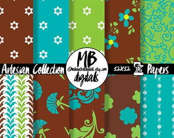 FLORAL Digital Paper, Printable pdf, Teal Blue, Lime Green, Brown, Flower Papers, Elegant Floral, Digital Paper Pack, Instant Download