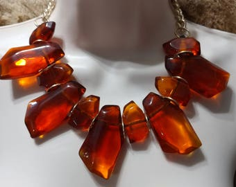 SALE Statement Amber/ Iced Tea Clear Lucite Slab/Rock Necklace Choker