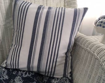 Blue and white stripe pillow. Coastal pillow. French country. Country cottage. Summer throw pillow.  Cotton decorator toss pillow cover.