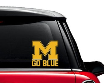 UofM University of Michigan Wolverines Go Blue- Decal - Car - Mac - Mug Free Shipping