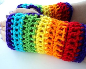 Rainbow Fingerless Mittens for lindatardrist