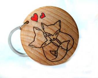 Valentines Day, Fox Keyring, Valentine Gift, Gift For Him, Gift for Her, Personalised Keychain, Fox Lover Gift, Keyring for Boyfriend