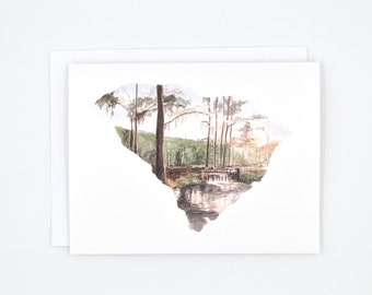 South Carolina State Notecards - Watercolor Cards - South Carolina Art Card - South Carolina Map Greeting Card - South Carolina Gift - SC