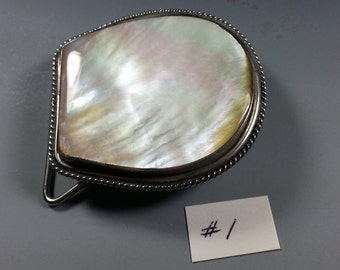 Beautiful Horseshoe Shaped Mother of Pearl and Stainless Steel Belt Buckles...1970's...Perfect for Scrimshaw