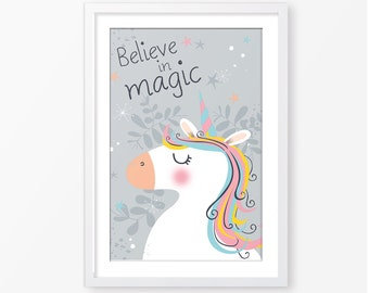 Unicorn poster,kids poster,believe in magic,kids room decor,nursery printable,kids print,nursery wall art,baby poster,inspirational quote