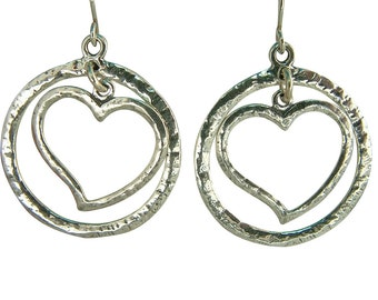 SHABLOOL earrings, sterling Silver earrings, heart drop Earrings, israel earring, silver heart earring, heart earring, silver heart earring