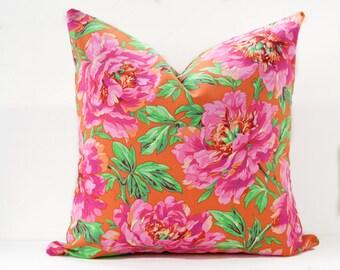 Orange pillow cover - Floral pink pillow - Pink and Orange pillow - Bright pink pillow - Peony pillow - Rose Pillow - Decorative Pillow